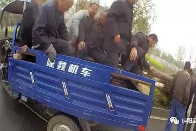 信阳三轮摩托车违法载13人 驾驶人无证驾驶被拘留
