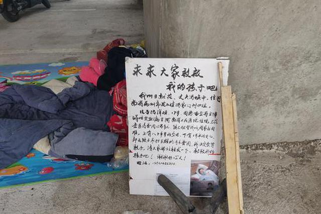 """母亲抱娃在郑州桥下蜗居7日 立一块纸板上写""""卖肾救子"""""""