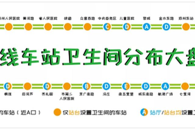 郑州地铁5号线10个车站卫生间设置在站厅非付费区
