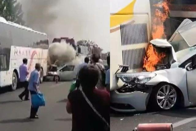 大巴高速被追尾突发大火 河南司机一分钟救54人