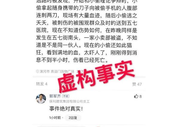 漯河一网民虚构案件事实 发布不实信息被处罚