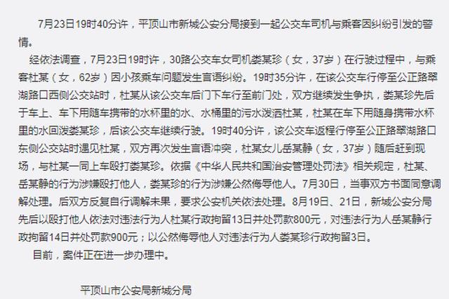 平顶山警方通报官员家属打司机:打人者分别被拘13日、14日
