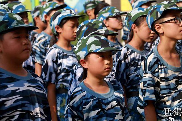 晒黑了长大了 郑州这些孩子们在军训中成长了(图)