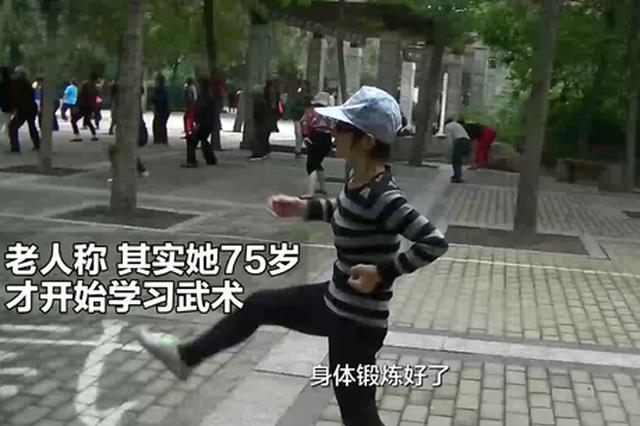 郑州79岁老人初学功夫 一出手大家瞬间看呆了