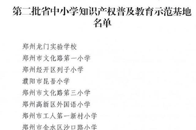 河南拟定58所中小学为知识产权普及教育示范实验基地