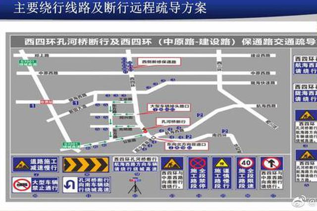 本月10日起 郑州西四环孔河桥封闭断行 绕行方案来了