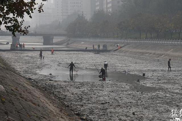 郑州东风渠抽水清淤 引来众多市民下河捞鱼