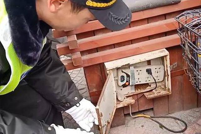 """郑州街头人行道花坛隐藏""""充电桩"""" 这招太危险!"""