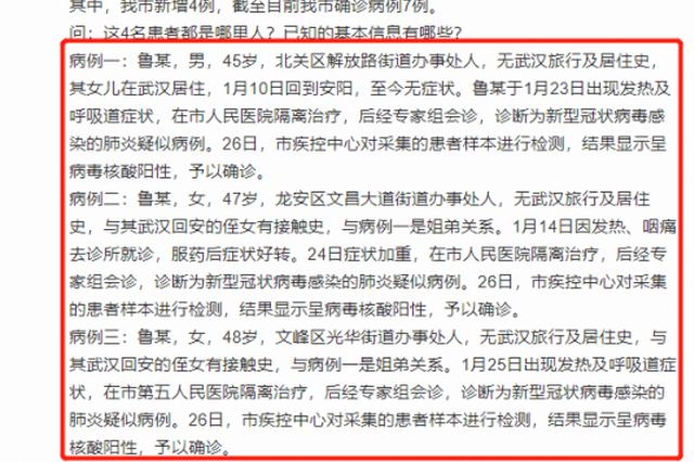 女子从武汉回安阳后至今无症状 其5名亲人被确诊新型肺炎