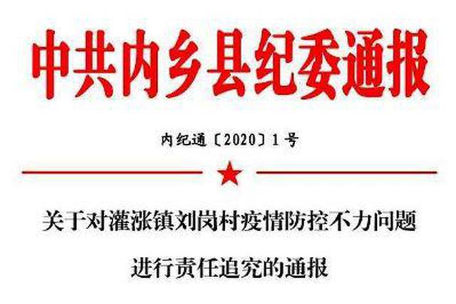 内乡县灌涨镇刘岗村因疫情防控工作不力被纪委通报