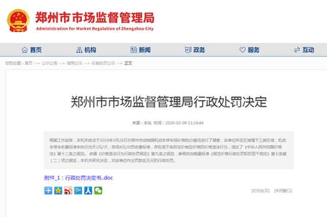 停车费高于政府定价制定价格 郑州动物园被罚5万