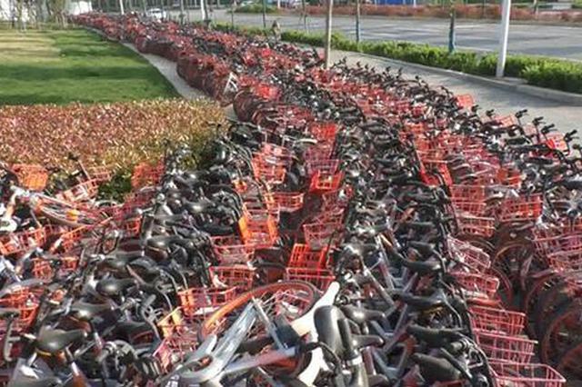 郑州近万辆共享单车占据千米人行道 市民反应影响通行