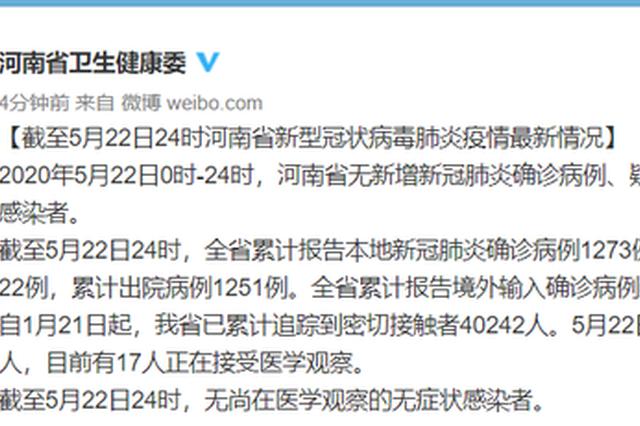 截至5月22日24时河南省新型冠状病毒肺炎疫情最新情况