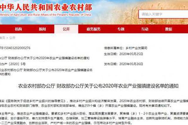 喜讯!河南16地入选2020年农业产业强镇建设名单