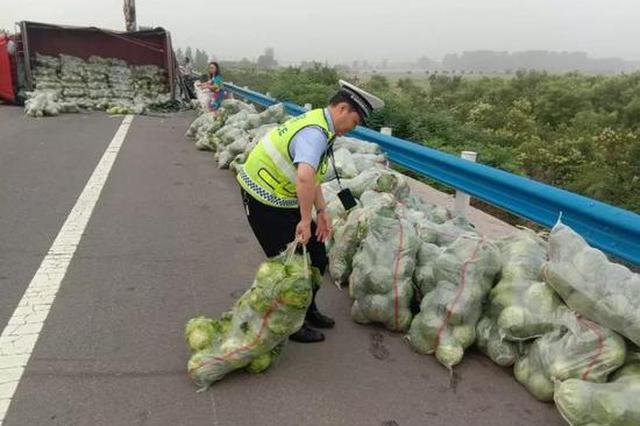 """凌晨货车侧翻近3吨包菜散落高速 交警现场化身""""搬运工&q"""