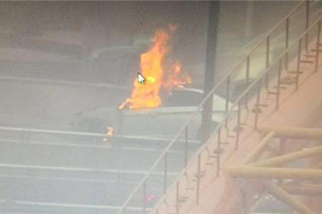 汽车高架桥上自燃 郑州交警拽开司机自己冲了上去