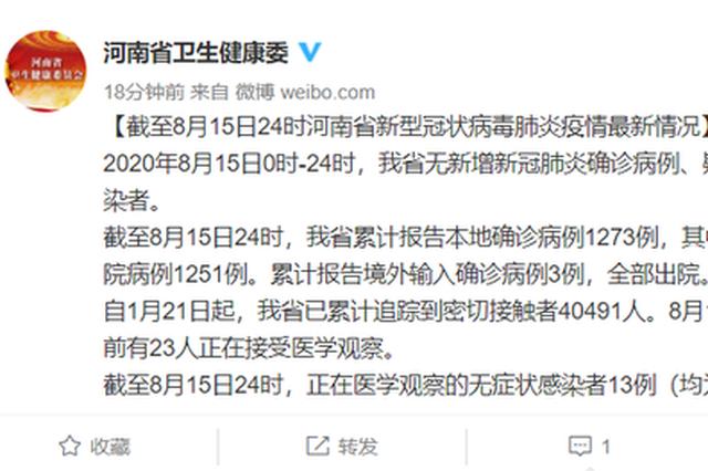 8月15日河南无新增确诊病例、疑似病例和无症状感染者