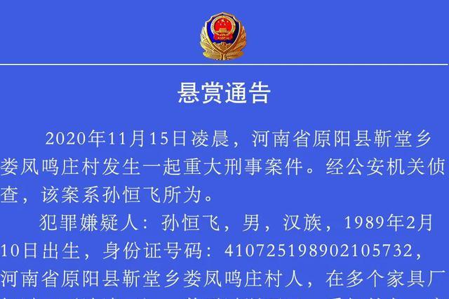 看到此人速报警!原阳警方悬赏20万抓捕犯罪嫌疑人
