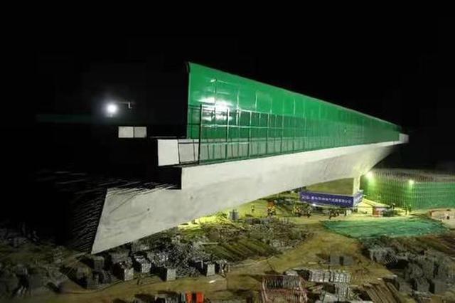 国道234上跨郑西高铁双幅桥成功同步转体