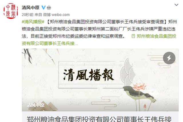 郑州粮油食品集团投资有限公司董事长王伟兵接受审查调查