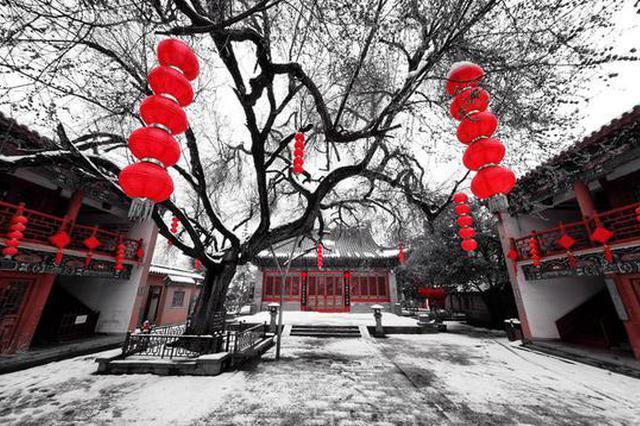郑州城隍庙:瑞兽迎瑞雪 绝美不胜收(图)