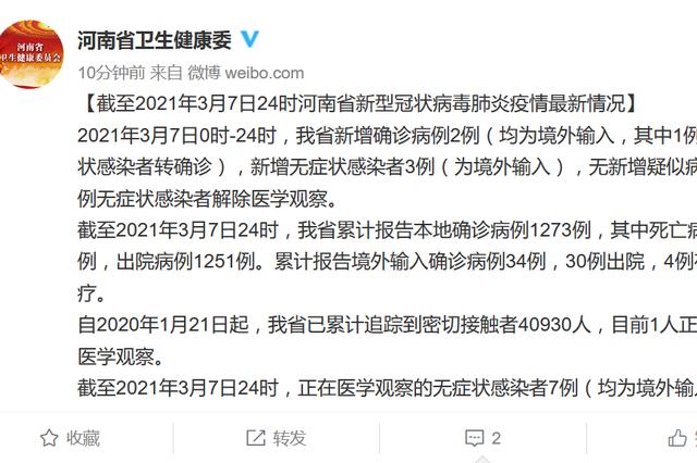 3月7日河南新增2例确诊病例、3例无症状感染者(均为境外输入