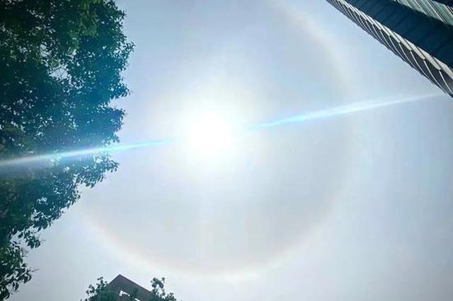 太阳戴美瞳!郑州天空出现日晕现象