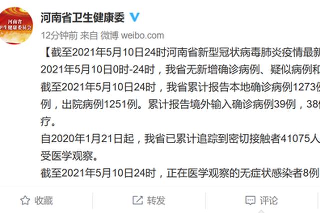 5月10日河南无新增确诊病例、疑似病例和无症状感染者