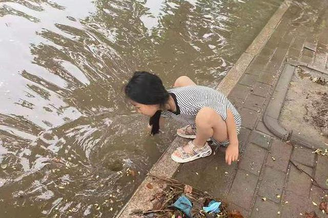 濮阳暴雨过后9岁女孩捡垃圾疏通下水道 母亲:小手扎破了