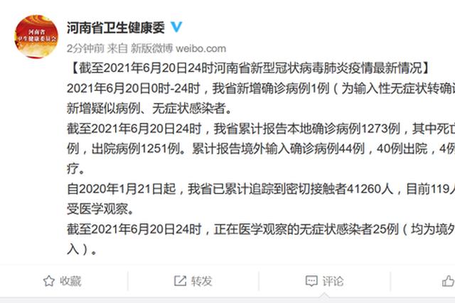 6月20日河南新增确诊病例1例(为输入性无症状转确诊)
