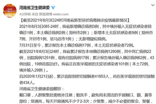 8月3日河南新增确诊病例3例 新增本土无症状感染者9例