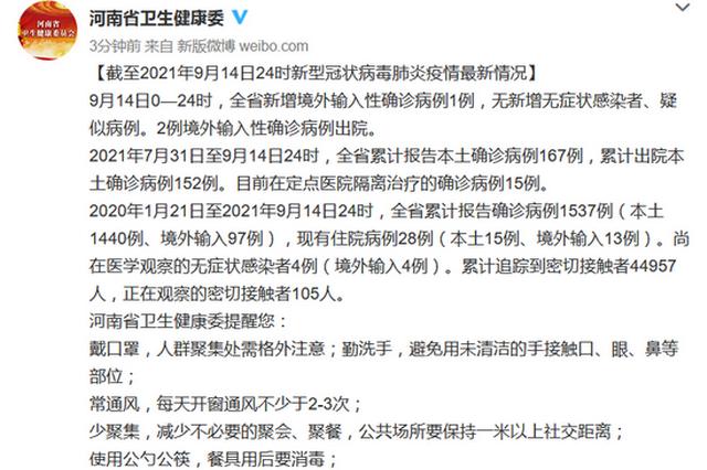 9月14日河南新增境外输入性确诊病例1例