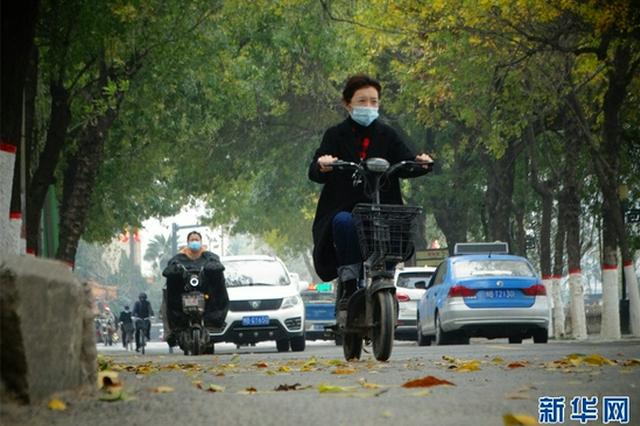 河南开封:大风降温天气寒(图)
