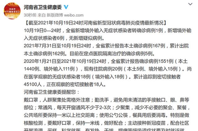 10月19日河南新增1例境外输入无症状转确诊 新增6例境外输入无