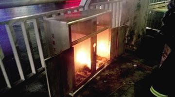 男子随手把烟头扔到垃圾箱引起火