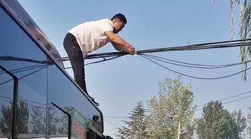电缆线垂落 郑州公交车长化身托举哥