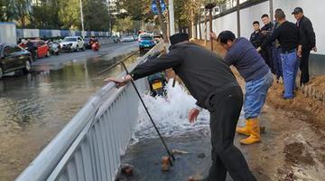 郑州一消防栓被撞断 大量自来水涌出