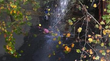 水流像瀑布一样从居民楼五层流出