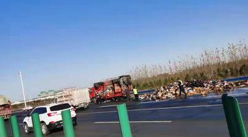 郑州高速一快递车着火 数百件货物被烧