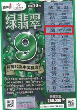 """南阳购彩者喜中体彩顶呱刮""""绿翡翠""""25万元"""