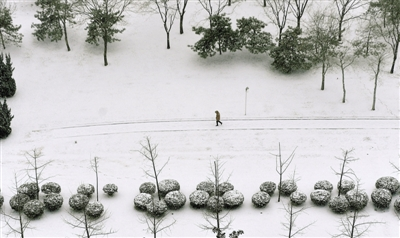 2018年郑州第一场雪,郑东新区变成了美丽的童话世界。郑报融媒记者 马健 图