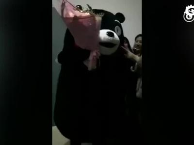 河南男生扮熊本熊告白 女神已有男友