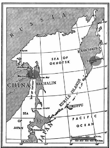 克里米亚战争远东战场。途中两个暗影区域,分别是俄军成功逃脱英法联军围剿的地方。