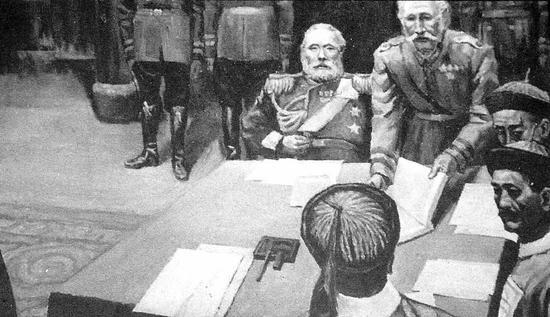 清政府与俄国签订丧权辱国的《瑷珲条约》。
