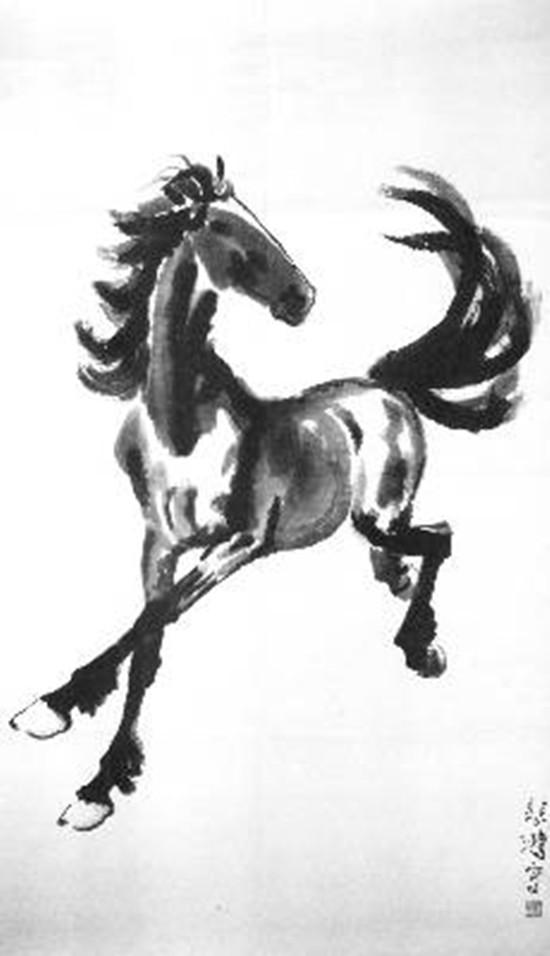 荣宝斋最早的木版水印画《奔马图》