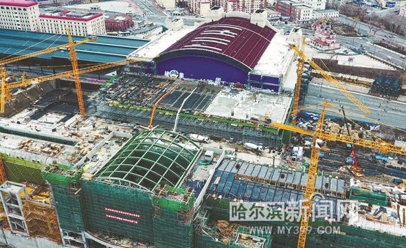 哈站南站房主体结构建成 建成后将于北广场互联互通