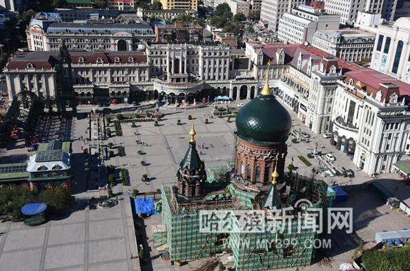 """保护性修缮!哈尔滨""""索菲亚""""教堂穹顶初露"""