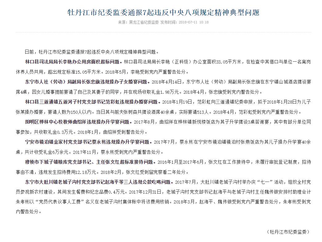 牡丹江市纪委监委通报7起违反中央八项规定精神问题