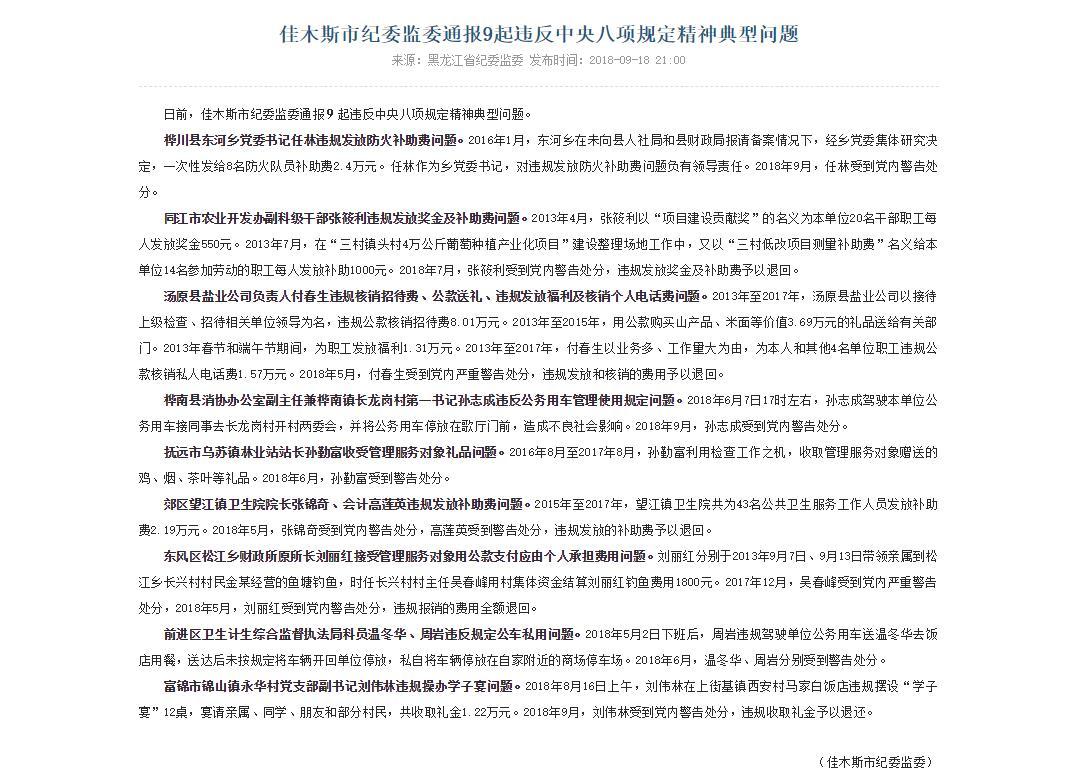 佳木斯市纪委监委通报9起违反中央八项规定精神典型问题