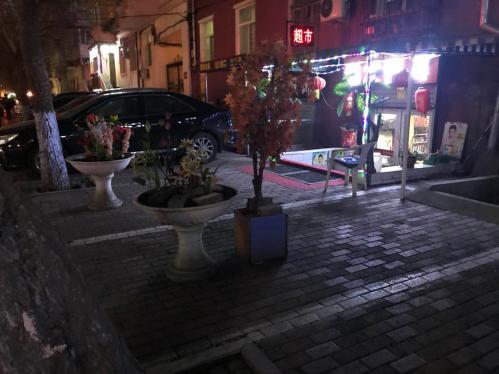 哈市多数临街商家霸占公共空间 安地锁放花盆占车位